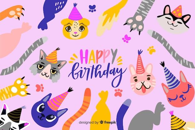 Hand drawn happy birthday background