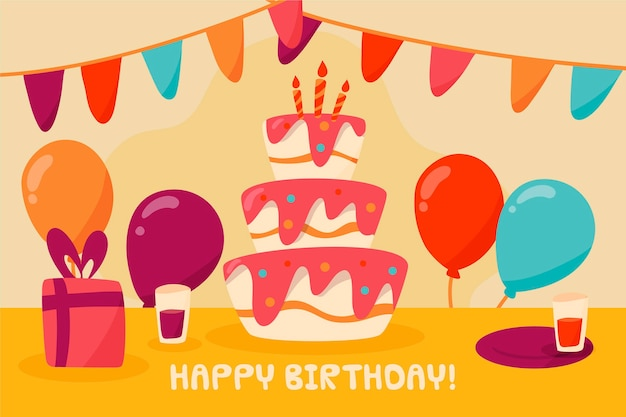 Hand drawn happy birthday background Free Vector