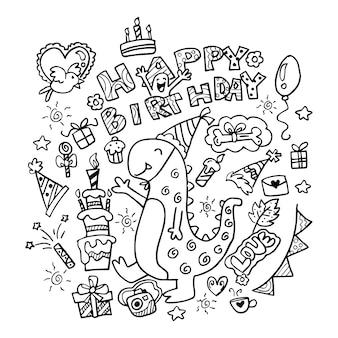 Hand drawn happy birthday doodles