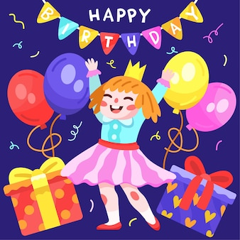 Hand drawn happy birthday illustration with girl and balloons