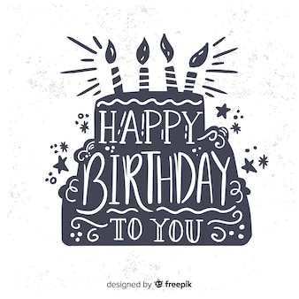 Hand drawn happy birthday lettering background