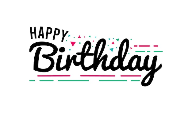 Hand drawn happy birthday lettering design
