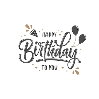 Hand drawn happy birthday lettering template