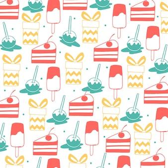Hand drawn happy birthday pattern background