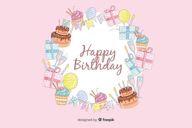 Hand drawn happy birthday pink background