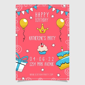 Hand drawn happy birthday poster template