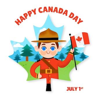 手描きの幸せなカナダの日のイラスト