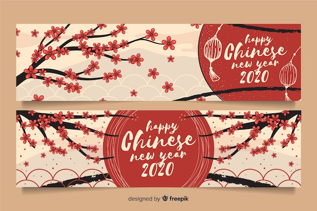 Hand drawn happy chinese new year banners