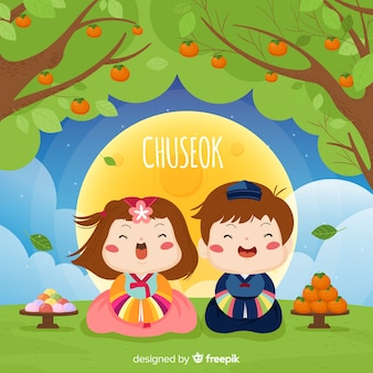 Hand drawn happy chuseok background