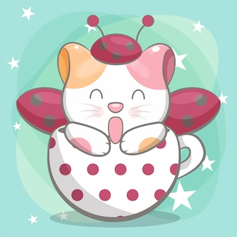 Hand drawn happy cute cat illustration for kids