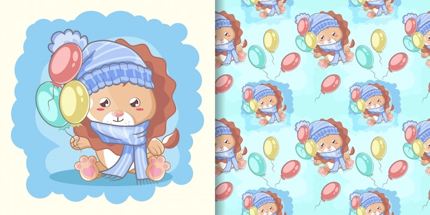 Hand drawn happy cute lion with balloons and pattern set