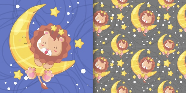 Hand drawn happy cute lion with moon and pattern set