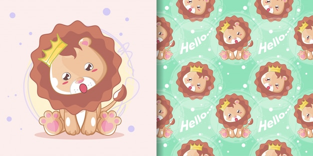 Hand drawn happy cute lion with pattern set