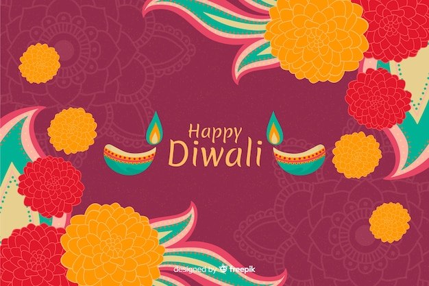 Hand drawn happy diwali background