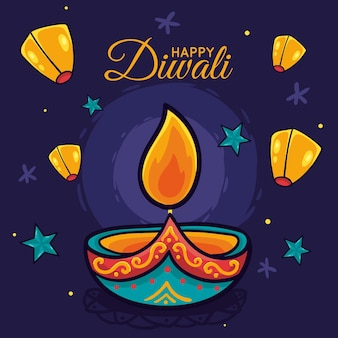 Hand drawn happy diwali concept