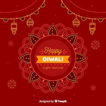Hand drawn happy diwali festive background