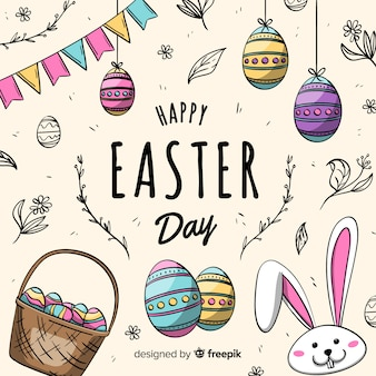 Hand drawn happy easter day background