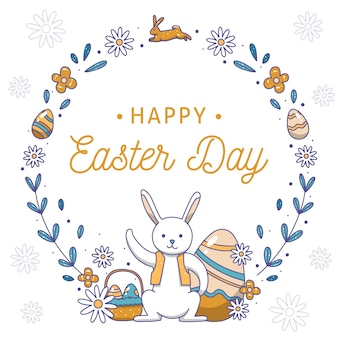 Hand drawn happy easter day bunny with scarf