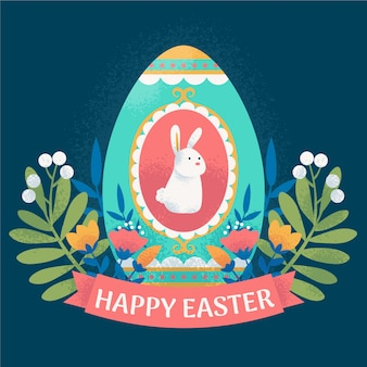 Hand-drawn happy easter day concept