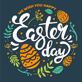 Hand-drawn happy easter day design