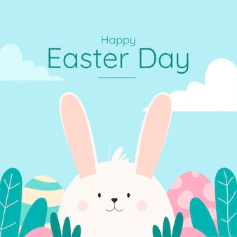 Hand drawn happy easter day lettering with white bunny