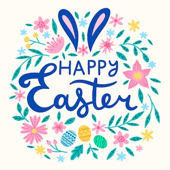 Hand-drawn happy easter day message