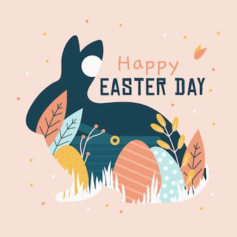 Hand drawn happy easter day rabbit and eggs concept