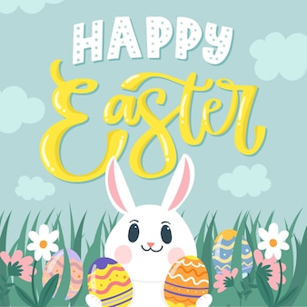 Hand drawn happy easter day smiley bunny