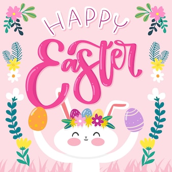 Hand drawn happy easter day smiley rabbit