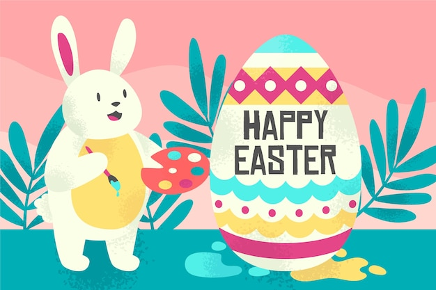 Hand-drawn happy easter day theme