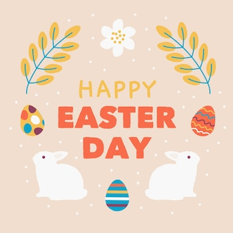 Hand drawn happy easter day wheat and rabbits