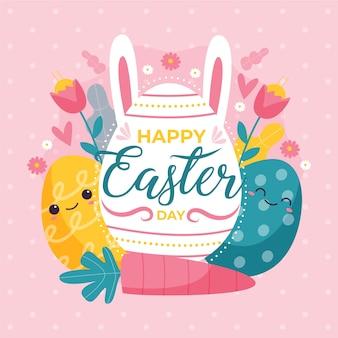 Giorno di pasqua felice disegnato a mano con uova colorate