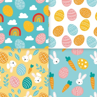 Hand drawn happy easter seamless pattern collection