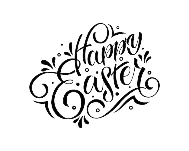Hand drawn happy easter text. lettering typography.