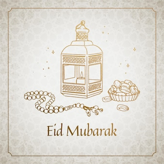 Hand drawn happy eid mubarak traditional objects