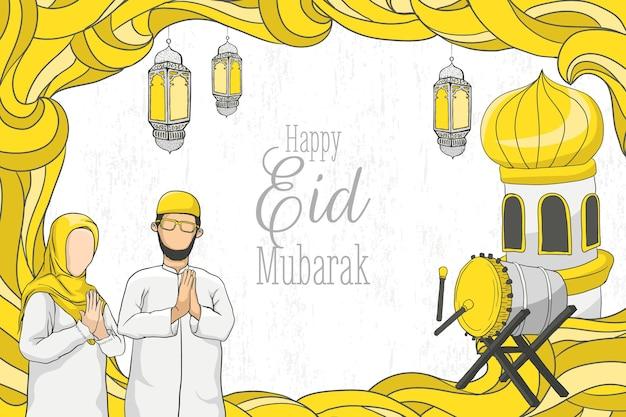 Hand drawn happy eid mubarak with islamic ornament on grunge texture