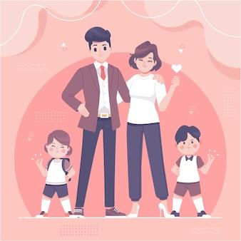 手描き幸せな家族のキャラクターイラスト