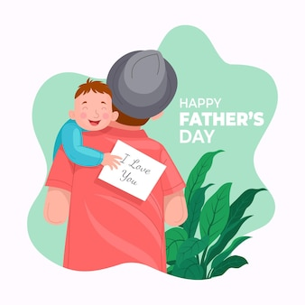 Hand drawn happy father's day illustration