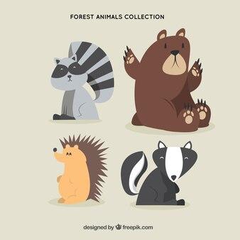 Hand drawn happy forest animals