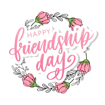 Hand drawn happy friendship day felicitation with lettering text sign and color grunge effect.