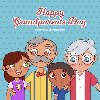 Hand drawn happy grandparents day background