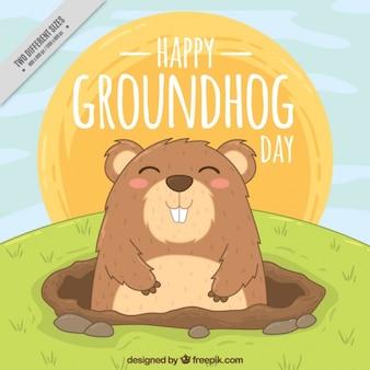 Hand drawn happy groundhog background