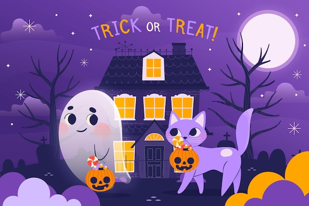 Hand drawn happy halloween background with ghost and cat