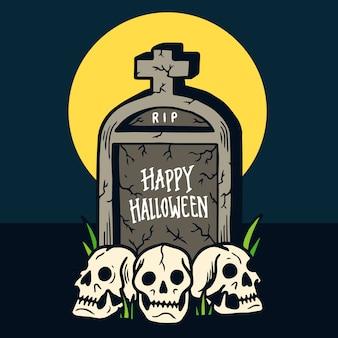 Hand drawn happy halloween grave and three skulls illustration
