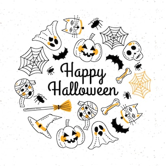 Hand drawn happy halloween greeting card template