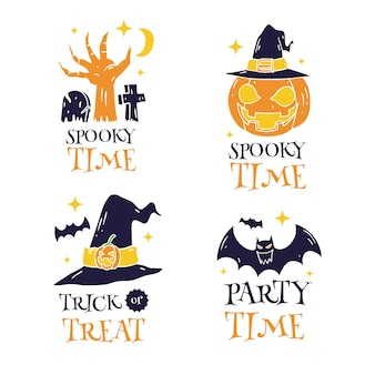 Hand drawn happy halloween labels set