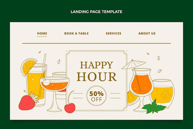 Hand drawn happy hour landing page