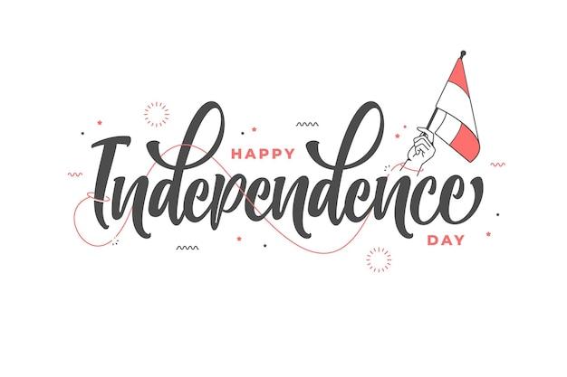 手描きの幸せな独立記念日のレタリングテンプレートの背景