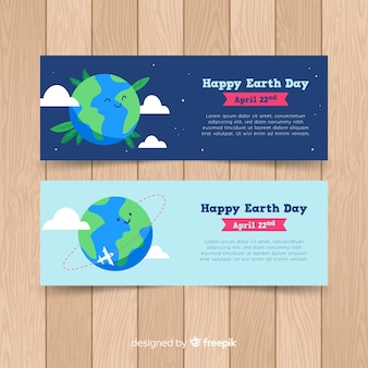 Hand drawn happy mother earth day banner