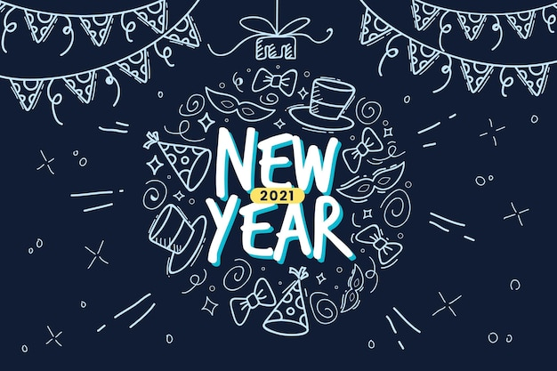Hand drawn happy new year 2021 in blue tones